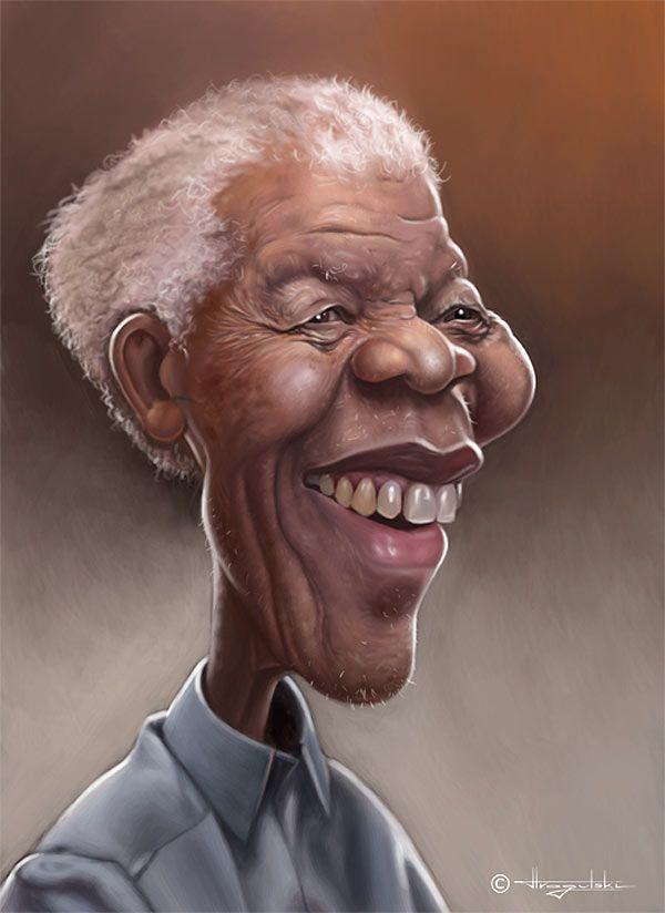 Caricature of Nelson Mandela.