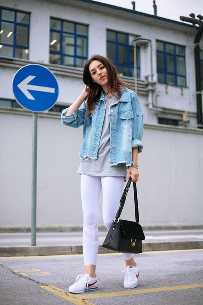 $85 Classic White Nike Cortez With Blue And Red Lined Detail Teamed With A Light Blue Ripped Frayed Denim Jean Jacket And White Sheer Panelled Sports Leggings Tumblr