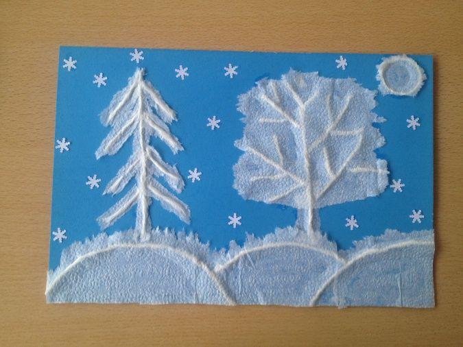 Аппликация «Зимушка-зима» Мастер-класс в технике «бумагопластика»