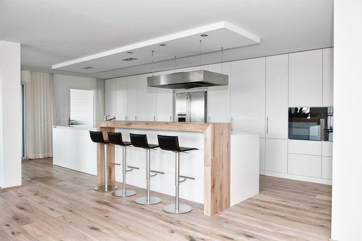 Moderne Küche Kochinsel Weiß Matt Holz Theke Kappa Armony - Wohn ...