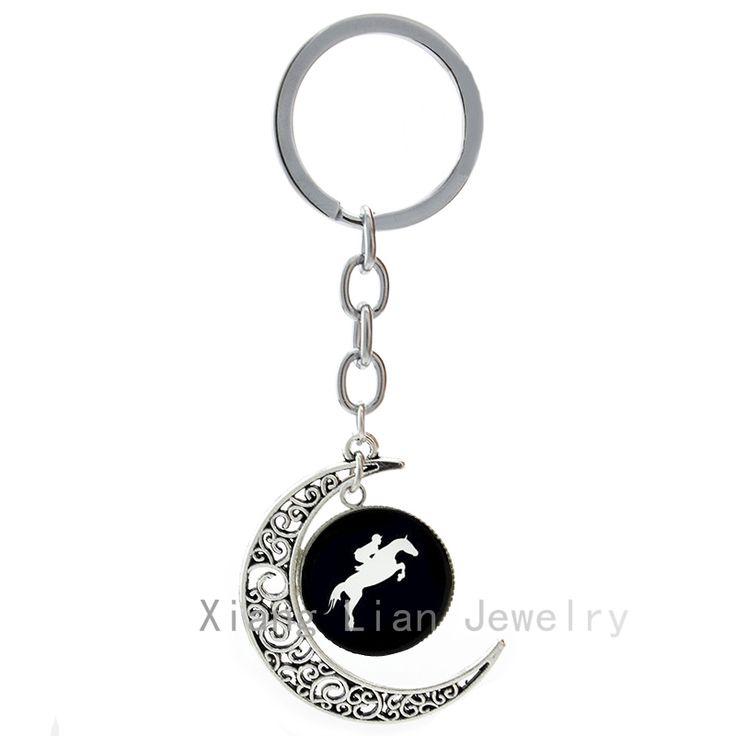 Верховая Езда брелок мода скачки Дерби День конный key chain кольцо винтаж Верховая Езда силуэт брелок T783