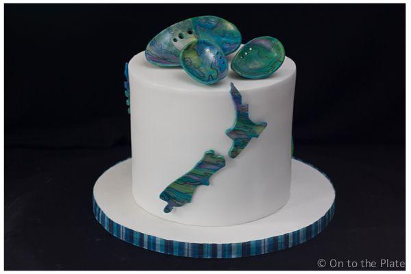 Waitangi Day Celebration Cake – 2014   On to the plate New Zealand, Kiwi, Fern, Paua, Paua Shells, Modelling Chocolate
