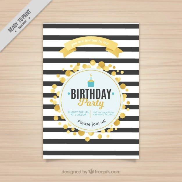 633 best vector and mockup images on pinterest miniatures convite listrado do aniversrio com crculos dourados birthday invitationscirclesgolden stopboris Choice Image