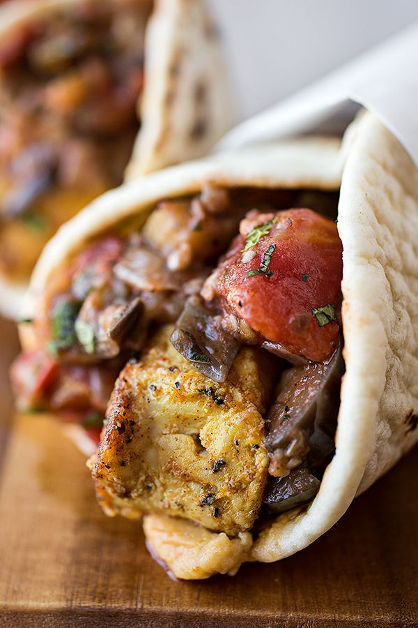 Spiced Moroccan Chicken Wrap with an Eggplant, Tomato, and Onion Chutney. The spices in this sound delicious.