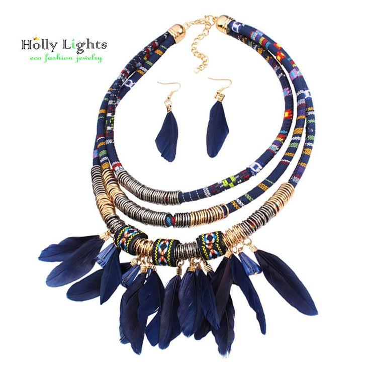 2017 women bohemian necklace&pendants black feather statement choker necklace za antique tribal ethnic boho noir mujer bijoux