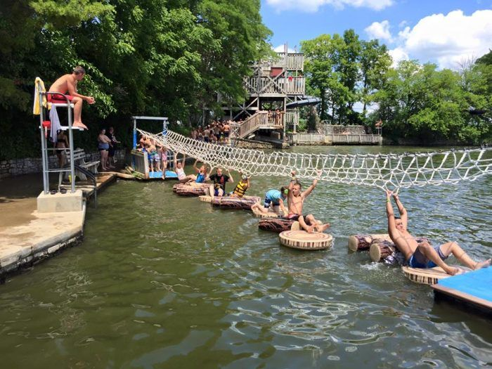In the small town of Berne is a stunning lake with a pretty common name: Pine Lake. Despite already being an impressive body of water that offers a great view for visitors, Pine Lake has something a little extra: a full blown water park built into it!