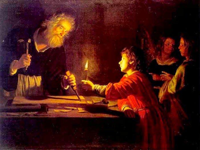 Cristo alumbra el trabajo de San José- museo de San Petersburgo. Nuevo Testamento