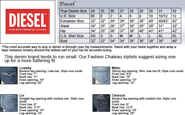 DIESEL jeans size chart and measuring guide for men. Chat with Fashion Brobot in Facebook  Messenger - http://m.me/FashionBrobot