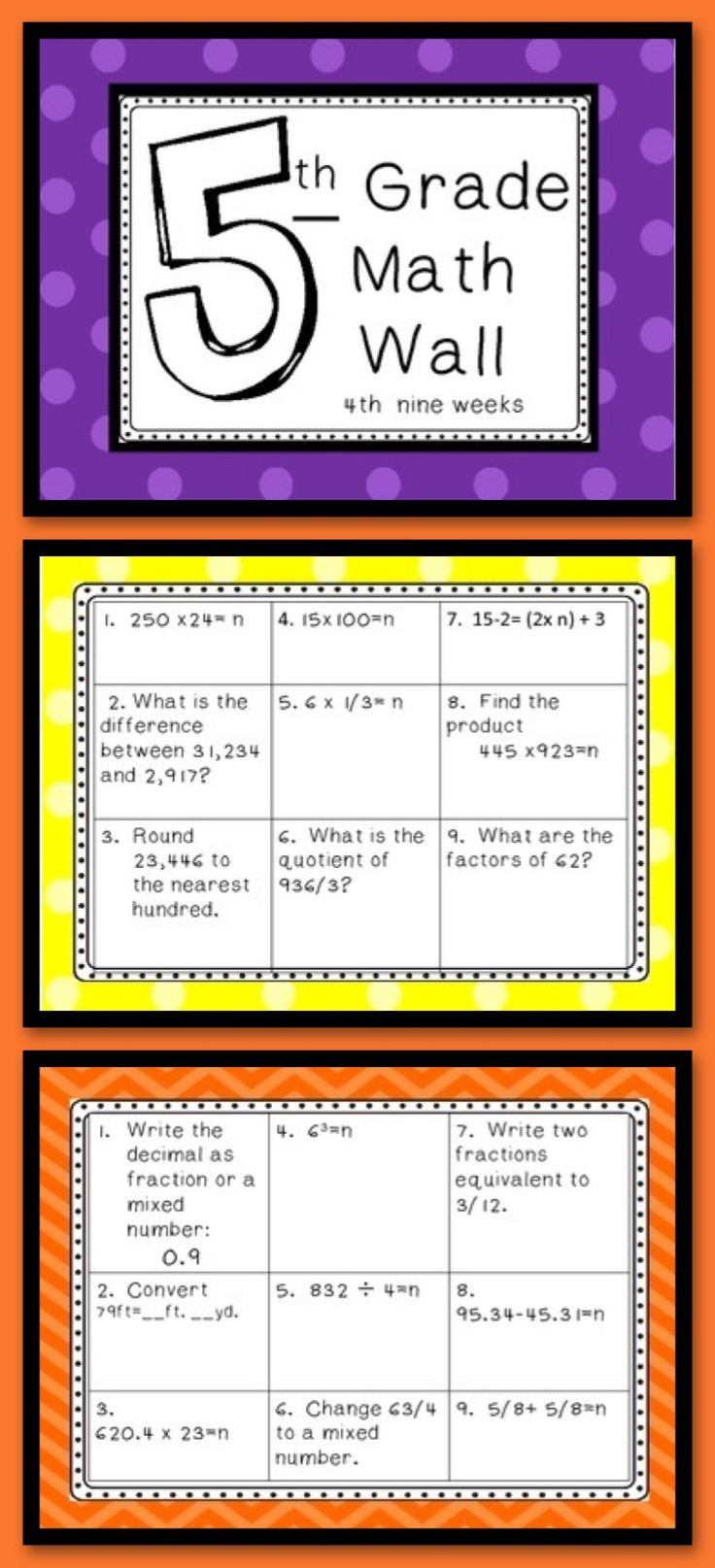 5th Grade Math Wall is a daily short review of math skills. The focus on the 4th nine weeks is to build a foundation of fractions and decimals. Class discussions and students modeling how they solved their problems will help build a strong mathematical foundation for algebra. I use this daily, I project it on the interactive board. Students complete the activities in their math journal and we check it together. It takes about 15- 20 minutes, but it creates great class discussions.
