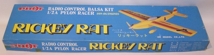 "Vintage (Made In Japan) Pilot ""Rickey Rat"" 1/2-A R/C Pylon Racer Model Airplane 
