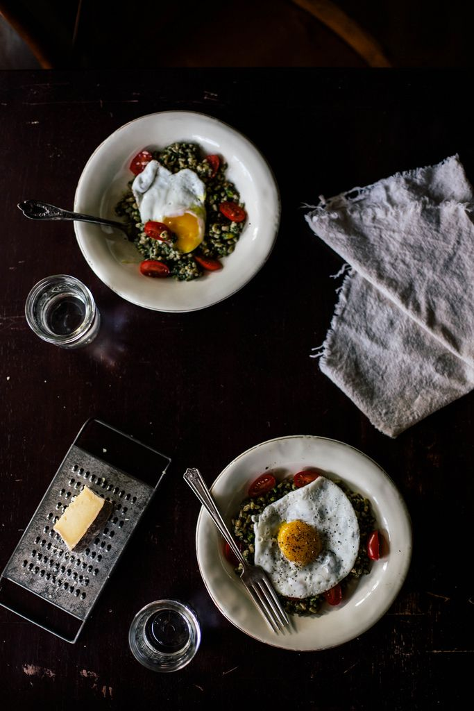 Local Milk | farro risotto + purslane pistachio pesto
