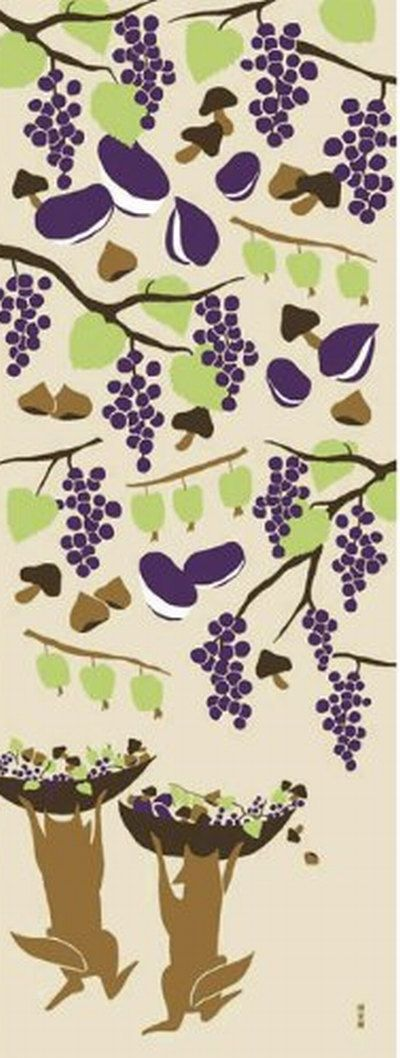 Japanese Tenugui Towel Cotton Fabric, Grapes, Chestnut, Mushrooms, Fox, Hand Dyed Fabric, Modern Art Fabric, Wrapping, Home Decor, h138