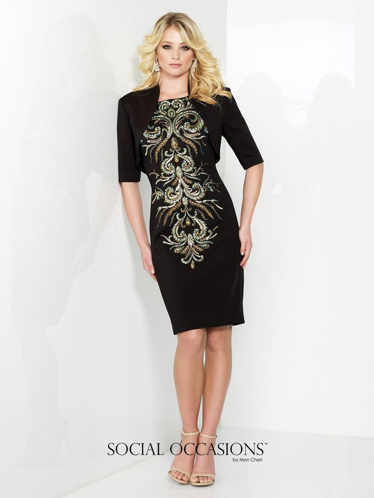 Two-piece jersey dress set, hand-beaded and embroidered knee-length sheath with cap sleeves, bateau neckline, matching bolero jacket with three-quarter sleeves included. Sizes: 4 – 20 Colors: Black/Multi, Champagne/Multi
