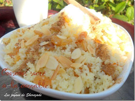 recette de couscous au sucre et à la cannelle, seffa: Raisin, Couscous, Recipe, Raisins
