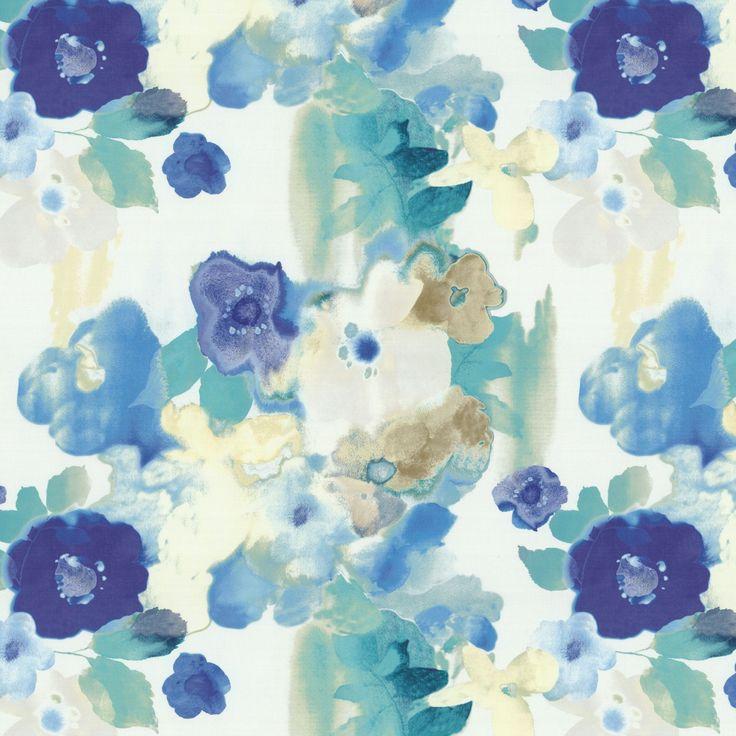 Blue Aqua Watercolor Floral Fabric Plein Air