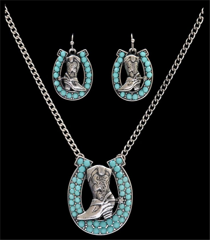 Silver Strike Turquoise Horseshoe and Boot Earring & Necklace Set [NE7118SBTQ]