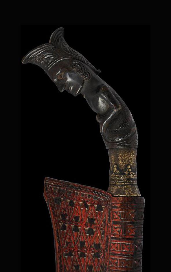 Carved Horn & Wood Piso Sanalenggam Sword - Pakpak Batak People, North Sumatra, Indonesia, 19th century