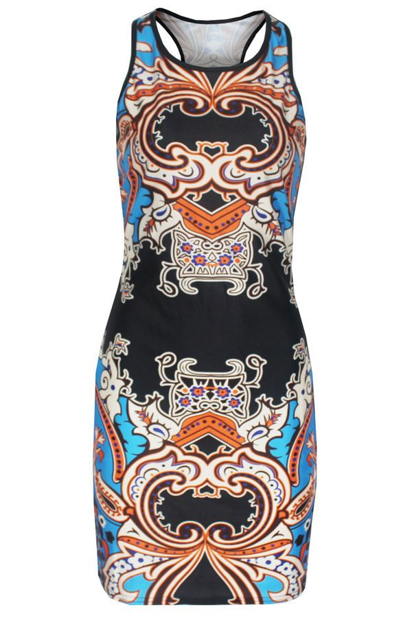 Multicolor Holiday Paisley Print Dress LC22215 women party 2016 new fashion #DearLover #Sheath #Casual