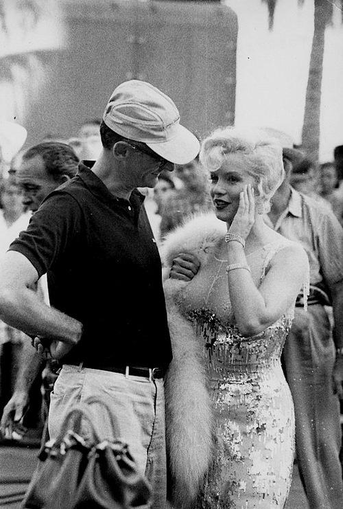 Arthur Miller & Marilyn Monroe on the set of Some Like It Hot