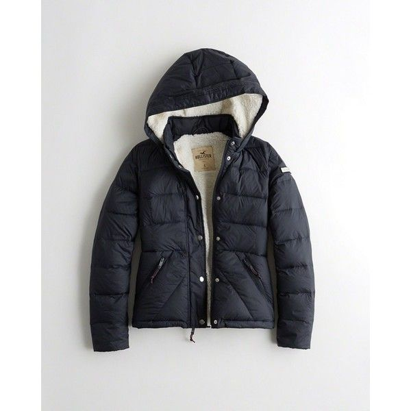 Hollister Ultimate Down Sherpa-Lined Puffer Jacket ($56) ❤ liked on Polyvore featuring outerwear, jackets, navy, puff jacket, zipper jacket, navy blue puffer jacket, hooded puffer jacket and navy puffer jacket