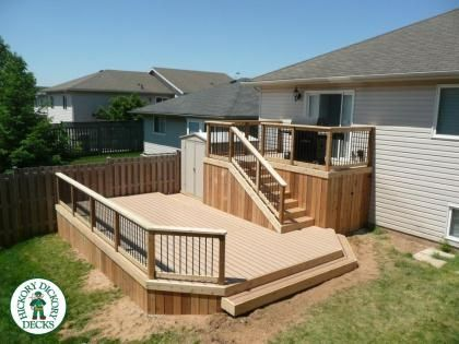 Deck designs for bi level homes google search deck for Split level garden decking