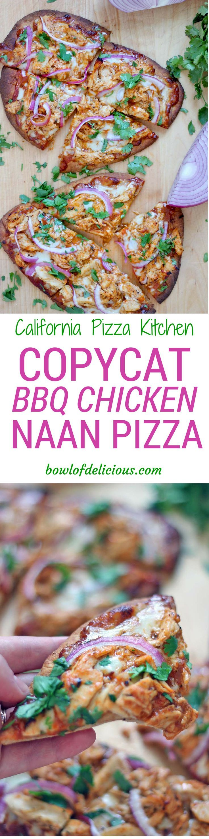 This homemade BBQ Chicken Naan Pizza is healthier than CPK's recipe, more delicious, and super quick and easy to make! This will become one of your favorite recipes.
