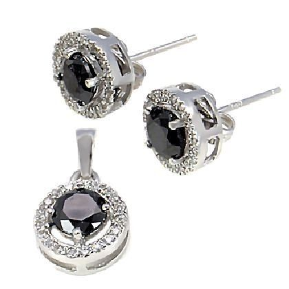 Sterling Silver 10mm Halo Jacket with 6mm Black Ice on Fire Diamond CZ Gemstone Cast Basket Stud Earring with Matching Pendant Gift Set, Lauren, 2.55 carats 1000 Jewels. $57.00. The halo earring jacket works great with a variety of studs and gemstones. We've included a photo with just a few of the possibilities.. All of the items are made with solid 925 Sterling Silver and come with the protective Platinum White Rhodium finish.. Overall width of each earring and ...