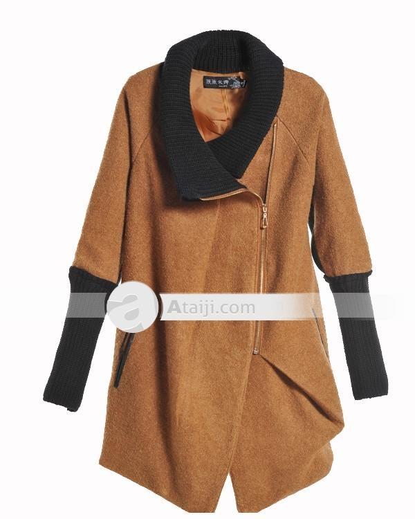 Wmina solapa elegante collar de manga larga con cremallera Mujer Abrigo