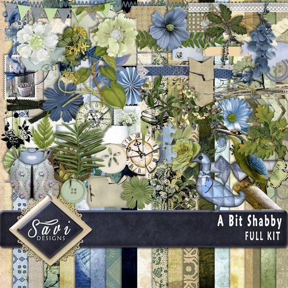 Digital Scrapbooking Kit A BIT SHABBY chic retro by SaviByDesign -