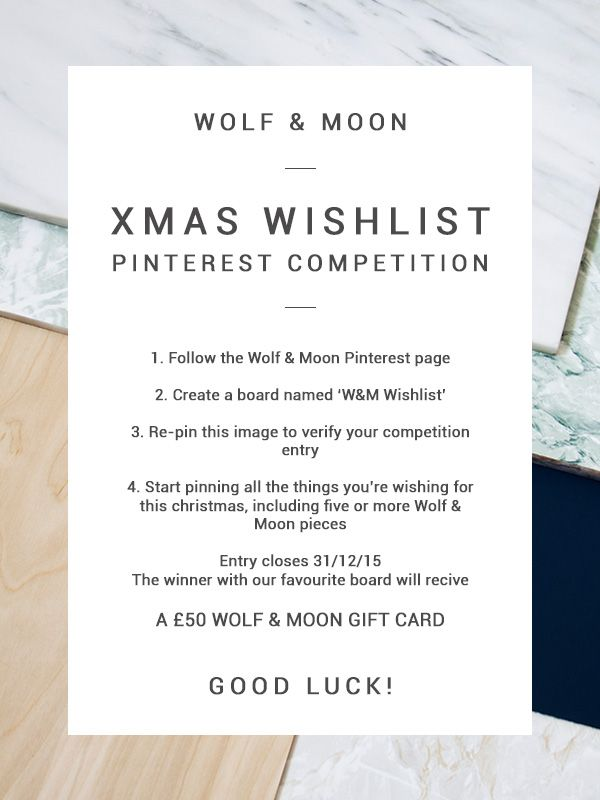 Wolf & Moon Pinterest Competition! www.pinterest.com/wolfandmoonshop/