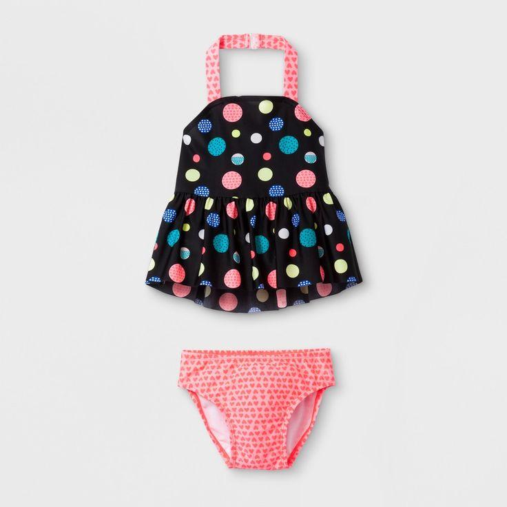 Toddler Girls' Polka Dot Tankini Set - Cat & Jack Black 5T