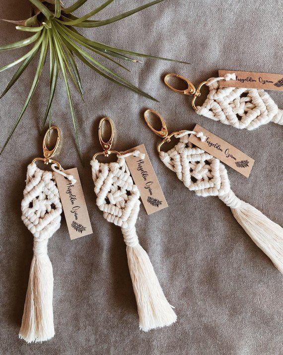 25pcs Bohemian Macrame Keychain to use for Wedding favor, Babyshower Gift for Guests, Bridal Shower Favor