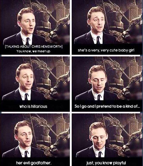Tom Hiddleston talking about Chris Hemsworth's daughter ...