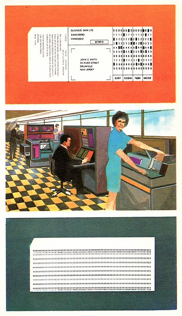 GOOD TIMES! punch cards for data and program & command entry. Top is a custom one for a business, bottom the standard IBM.
