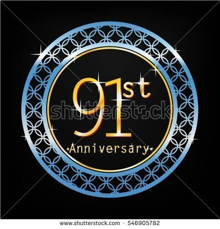black background and blue circle 91st anniversary for business and various event