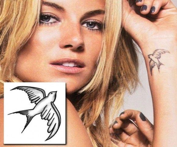 Sienna Miller swallow tattoo #siennamiller #swallowtattoo #tattooforaweek