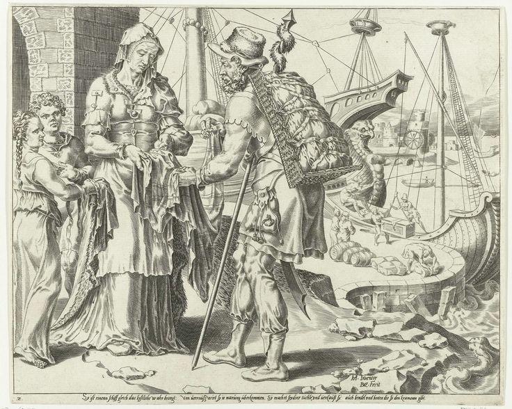 Dirck Volckertsz Coornhert | De Deugdzame vrouw verkoopt haar waren, Dirck Volckertsz Coornhert, Cornelis Bos, 1555 | De deugdzame vrouw verkoopt aan een handelaar kleren die ze zelf heeft gemaakt. In de achtergrond wordt een schip uitgeladen aan de kade. De prent is gebaseerd op Spreuken 31:14: 'Zoals een koopmansschip naar verre streken vaart, zo haalt zij van verre wat ze nodig heeft' en Spreuken 31:24: 'Zij vervaardigt kleding en gordels, en levert die aan kooplui'. De afbeelding heeft…