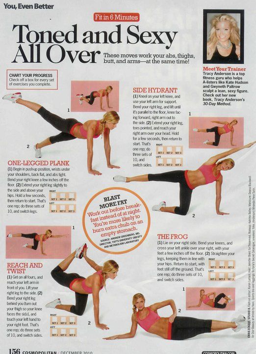 Time: 11 minutes Areas worked: Legs and stomach Equipment needed: None The moves are fairly easy except for the reach and twist which I struggled with, but it's definitely not as difficult as…