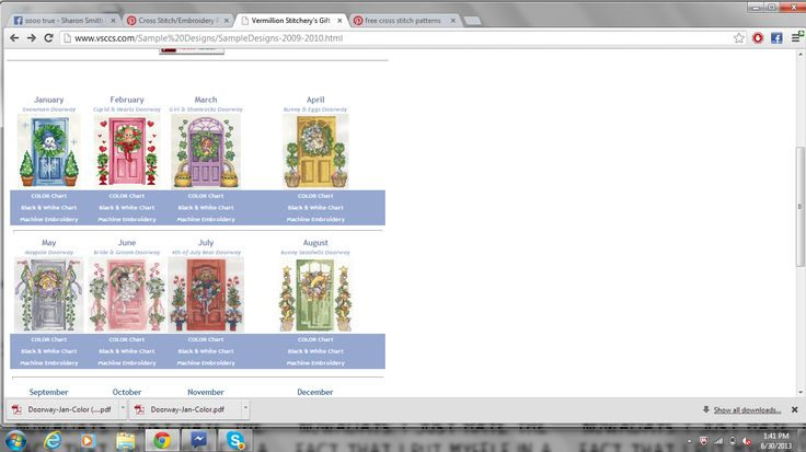 yearly doorways..color charts on website
