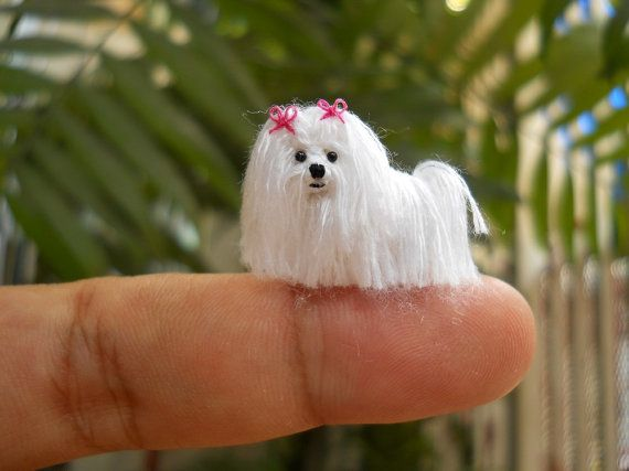 Maltese - Tiny Crochet Miniature Dog Stuffed Animals - Made To Order on Etsy, $95.00