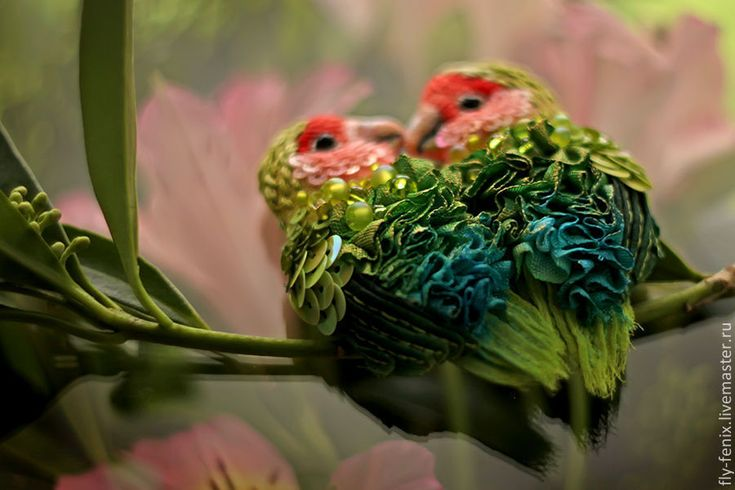 Купить Брошь Неразлучники - миниатюра, неразлучники, подарок девушке, влюбленные, птичка, подарок подруге, птица