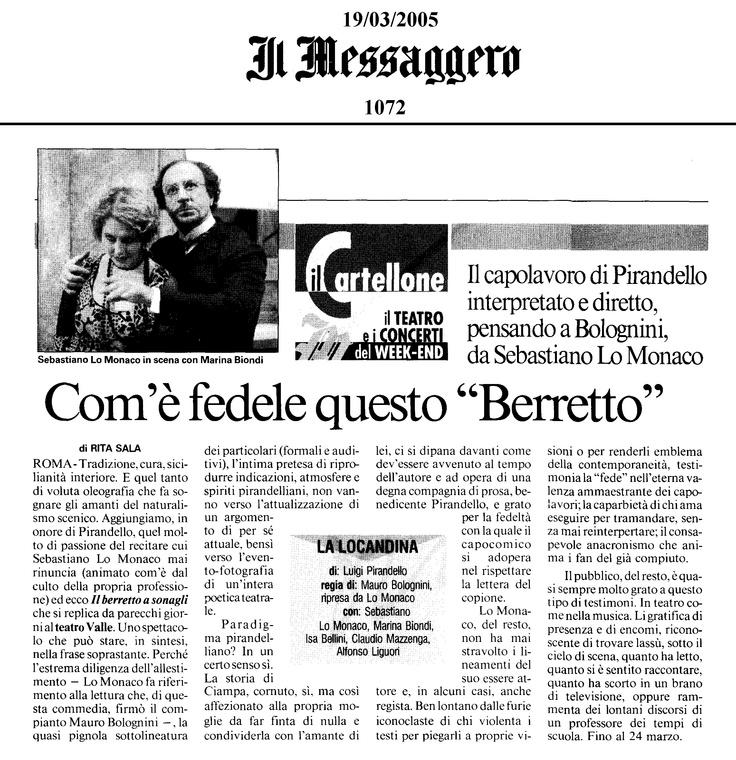 """19 marzo 2005 - Il Messagero - Rita Sala su """"Il Berretto a Sonagli"""""""