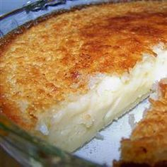 IMPOSSIBLE PIE~~ All the ingredients are mixed together and poured into a pie tin, but when it cooks it forms its own crust with filling This has a coconut vanilla taste like a coconut cream pie 2 cups milk 1 cup flaked coconut 4 eggs 1 teaspoon vanilla extract 1/2 cup all-purpose flour 6 tablespoons margarine 3/4 cup white sugar 1/4 teaspoon ground nutmeg