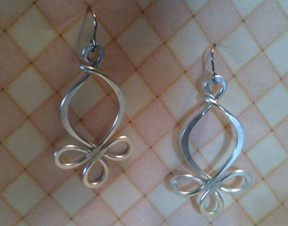 Aluminum Wire Jewelry Swirly Hoops Lightweight Non Tarnish Silver or Multicolor