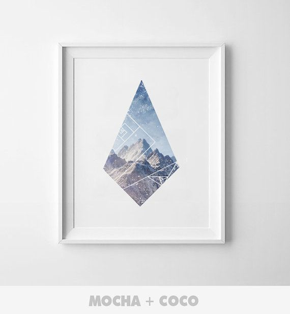 Geometric Polygon Mountain Art Poster, Office Wall Art, Startup Minimal Decoration, Printable Mocha + Coco, Intstant PRINT FILE DOWNLOAD