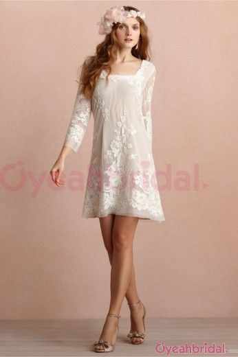 2013 Modern Popular Cute Square Neckline Short White Embroidery Bow Three-quater Sleeves Prom/Party Dress PD-50312