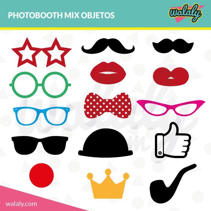15 objetos para Photobooth (bigotes, gafas, labios, etc.) para imprimir en casa o en una imprenta ¡Dale un toque original y divertido a tus fiestas!