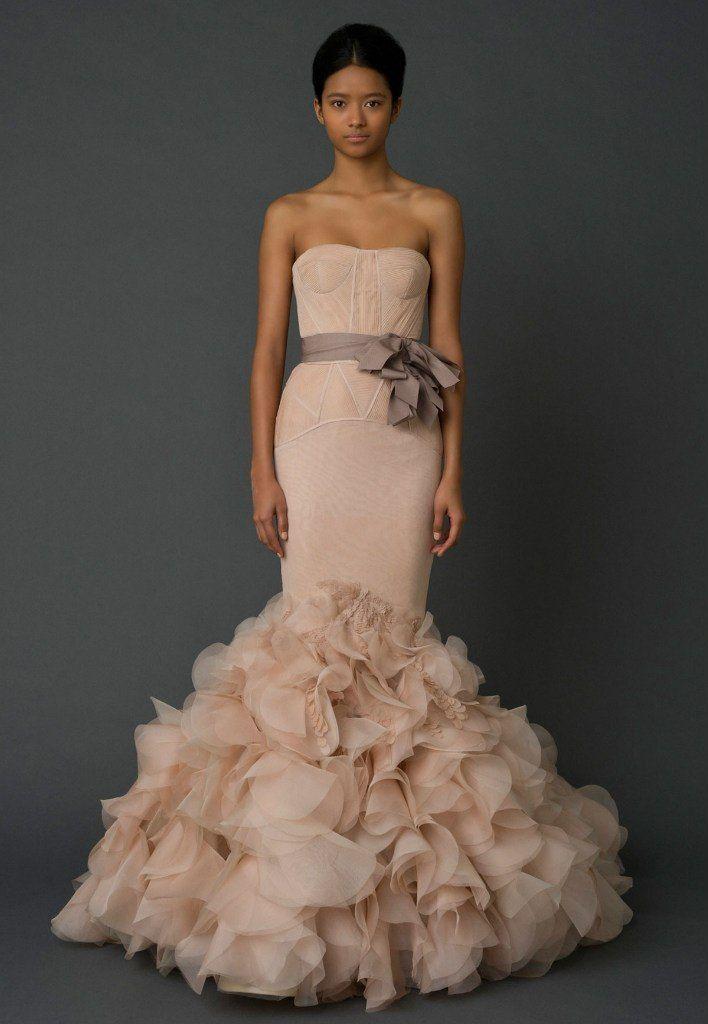 Vera wang beige no strap mermaid wedding dress bridesmaid for Vera wang mermaid wedding dresses