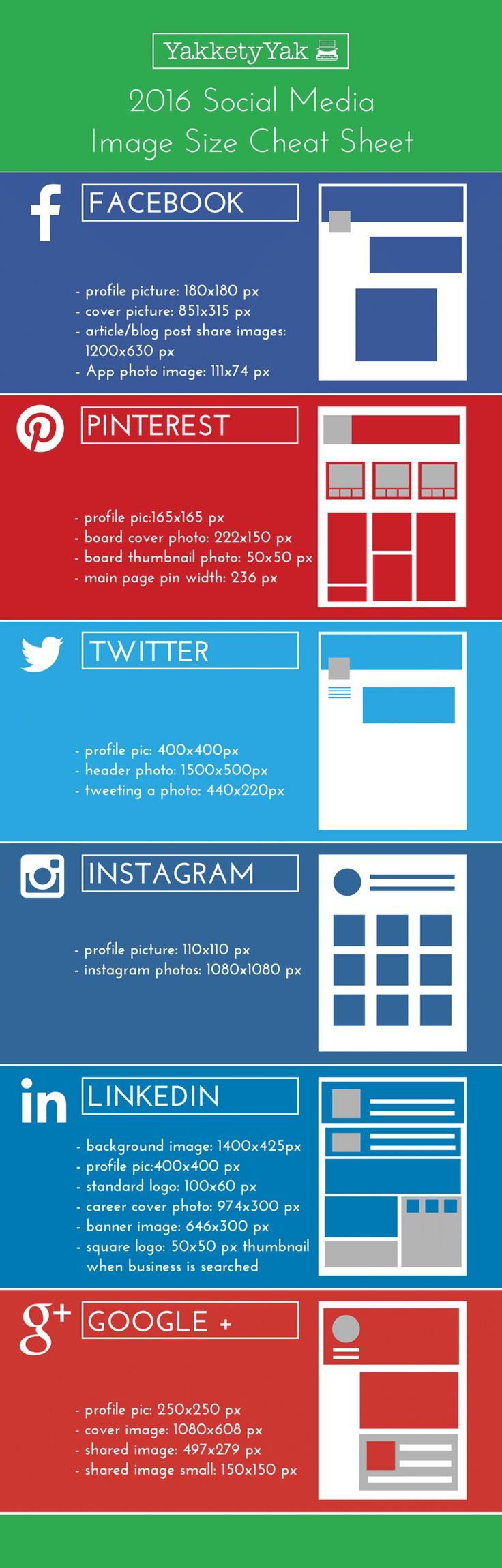 2016 Social Media Image Size Cheat Sheet FACEBOOK - profile picture...