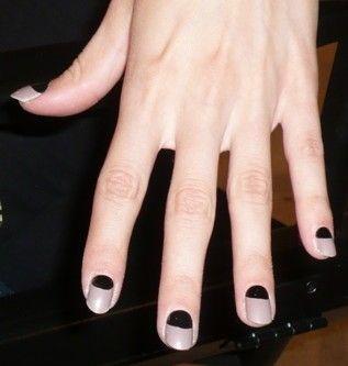 Color block nails.: Halfmoon, Nails Art, Nails Apt, Reverse French Manicures, Moon Nails, Big Moon, Winter Nails, Black Moon, Half Moon Manicures